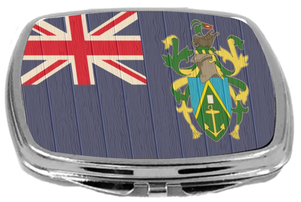 Rikki Knight Compact Mirror on Distressed Wood Design, Pitcairn Islands Flag, 3 Ounce