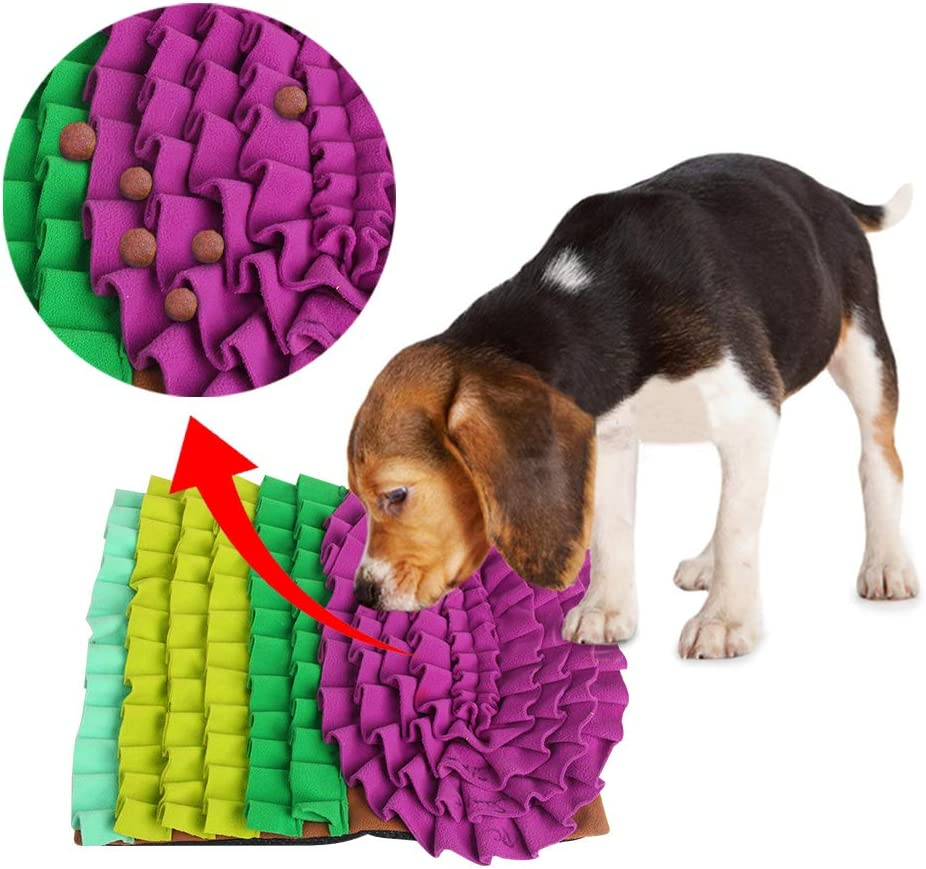Diameter: 30in // 76cm ALL FOR PAWS Pet Snuffle Mat Dog Training Pad Pet Nose Work Blanket Non Slip Pet Activity Mat for Foraging Skill Dog Feeding Mat With Cute Toy Ideal for Dogs Stress Release
