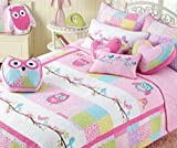 Cozy Line Home Fashions 6-Piece Quilt Bedding Set, Pink Owl Blue Green White Print 100% COTTON Bedspread Coverlet Set, Gifts for Kids Girls ( Twin - 6pc: 1 quilt + 1 sham + 4 Decorative Pillows )