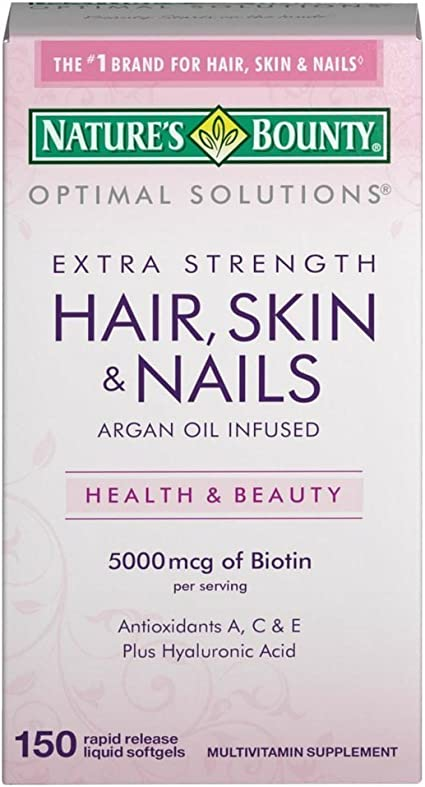 Nature S Bounty Extra Strength Hair Skin Nails 5000mcg Of Biotin 150 Count Pack Of 2