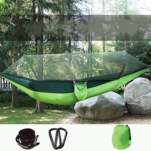Jun7L Hamaca para Acampar con mosquitera, Hamaca de Nylon con paracaídas Liviana Doble portátil con mosquitera para Caminatas, Viaje con la Correa del árbol Verde 250x120cm: Amazon.es: Jardín