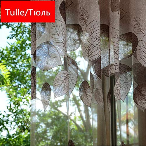 Luxury Modern Leaves Designer Curtain Tulle Window Sheer Living Room Bedroom Kitchen Screening Panel