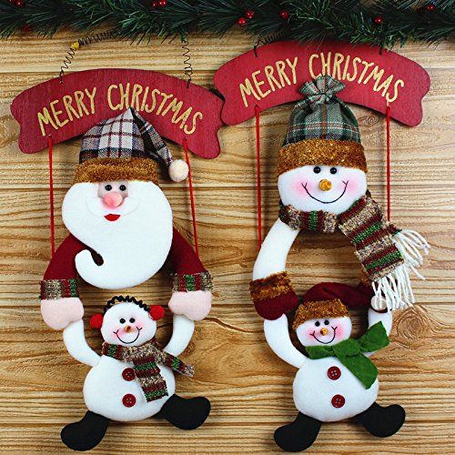 Alonea Christmas Wreath Christmas Snowman Hang The door Party Door Decor (Color Random)