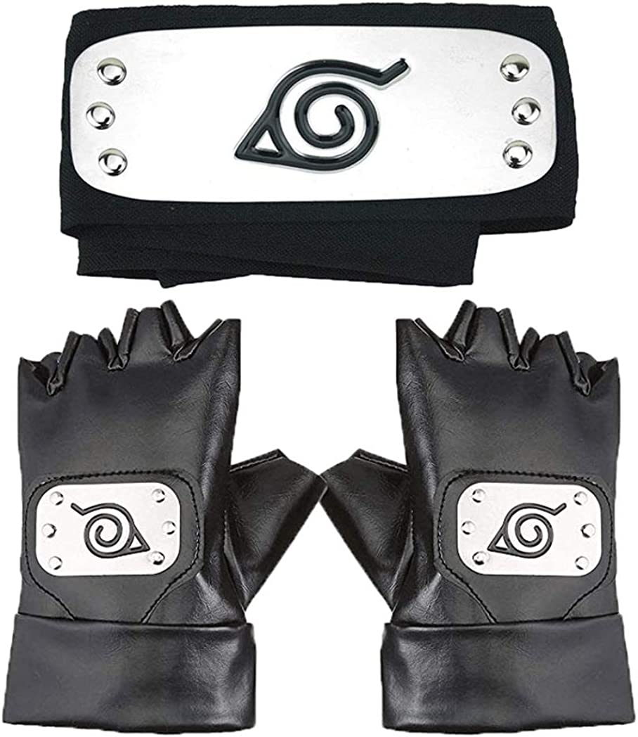 Master Online Naruto Headband, Leaf Village Headband and Cosplay Gloves Hatake Kakashi Ninja Cosplay Accessories(Black) …