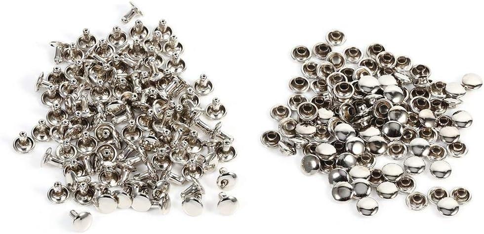 Remaches de Doble Cara Remaches de Hierro para Artesanía de Cuero Bolsa Zapatos 100 unidades 8 × 8 mm(Plata)