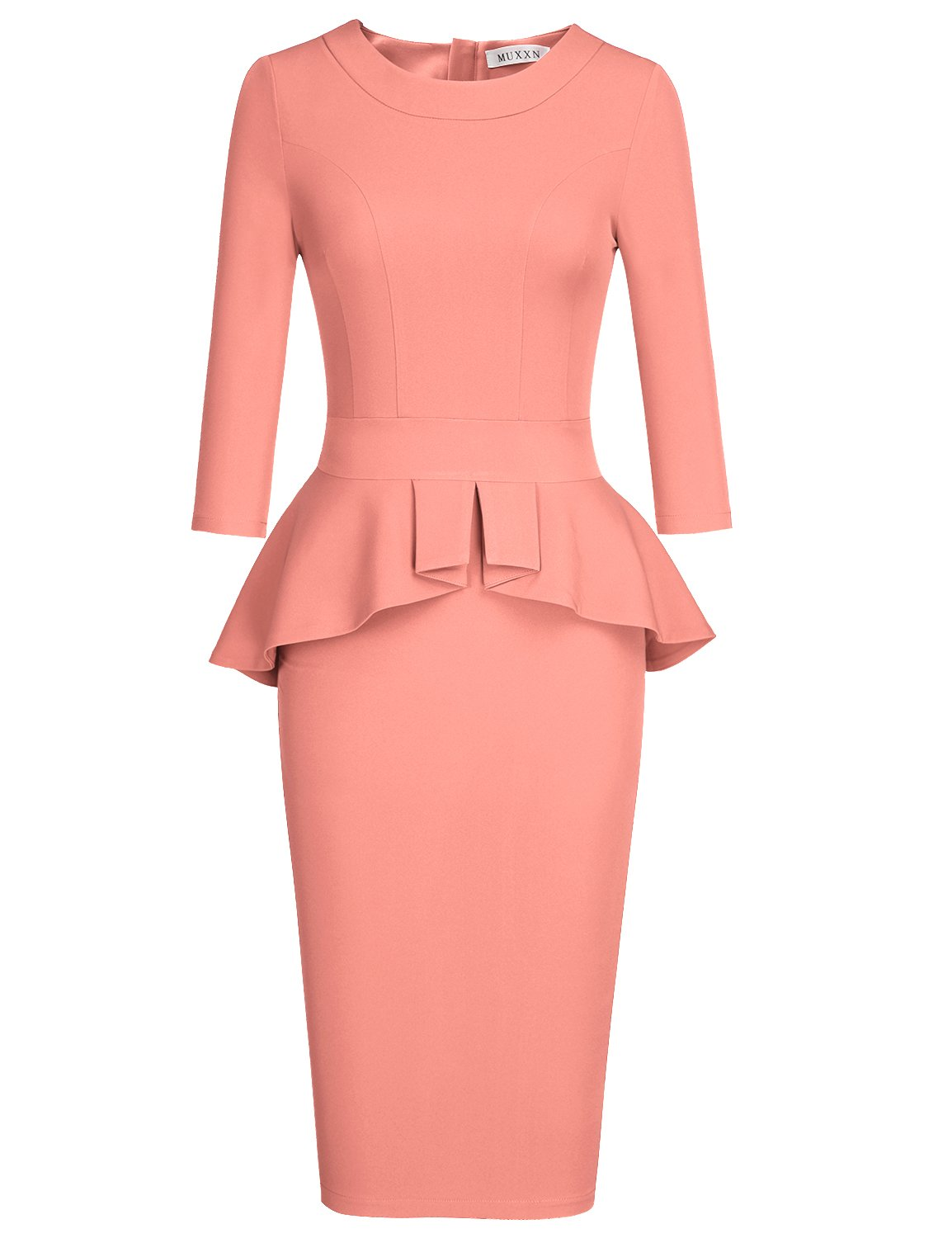 MUXXN Women's Round Neck Pleated Peplum Bodycon Mini Work Pencil Dress (Peach XXL)