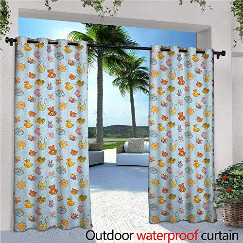 - familytaste Baby Outdoor Blackout Curtains Newborn Sun Teddy Bear Ribbon Feeder Pacifier Chick Kitty Cat Design Outdoor Privacy Porch Curtains W108 x L108 Pale Blue Cinnamon Apricot