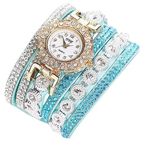 Anxinke Women PU Leather Strap Wrap Around Analog Quartz Bracelet Wrist Watches with Rhinestone (Mint Green) (Mint Leather Bangle)
