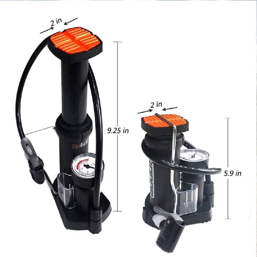Mini bomba de inflador de neum/áticos de motocicleta el/éctrica de alta presi/ón con man/ómetro SUNWAN Bomba de pie