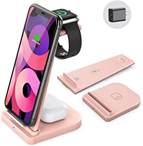 Wireless Charging Station-3 in 1 Qi-Certified Fast Charging Stand Compatible Apple Watch Series 6/5/4/3/2 Airpods Pro iPhone 12/12pro/11/11pro/X/XS/XR/XS Max/8/8 Plus/with(15W Adapter(Pink)……