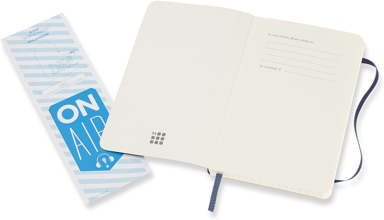 Azul 192 P/áginas Tama/ño Bolsillo Moleskine Cuaderno Cl/ásico con P/áginas Lisas Tapa Blanda y Goma El/ástica Sapphire Blue