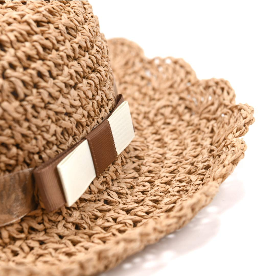 accsa Baby Girl Fedora Straw Panama Bucket Hat Summer Beach Foldable UPF Sun Protection with Brim Age 12-36 Months