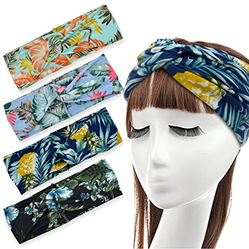 DRESHOW 4 Pack Headbands Vintage Elastic Printed Head Wrap Stretchy Moisture Hairband Twisted Cute Hair Accessories (Navy Black Blue (Getting Blue Out Of Hair)