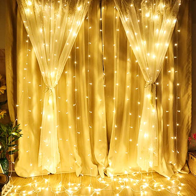 Qunlight Star 304 Led 9.8ftx9.8ft 30 V 8 Modes With Memory Window Curtain String Lights Wedding Party Home Garden Bedroom Outdoor Indoor Wall Decorations(Warm White) by Qunlight