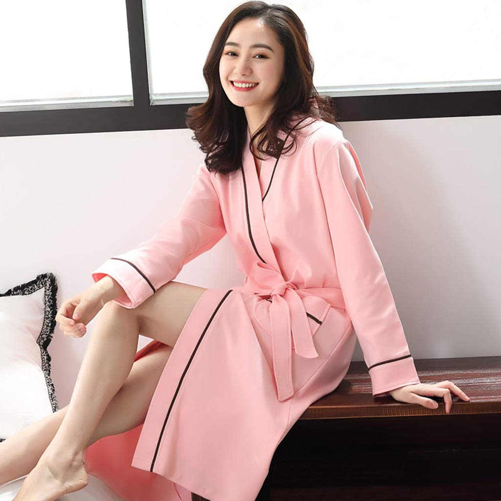 F Nightgown Female Spring and Autumn Cotton Long Section Ladies bathrobe Female Bath Cotton Absorbent Adult lace Cardigan Thin Section