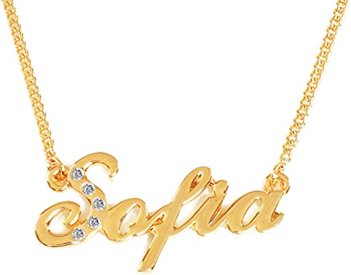 Name Plate Jewellery Neckless Gifts SOFIA 18ct Gold Plating Necklace With Name