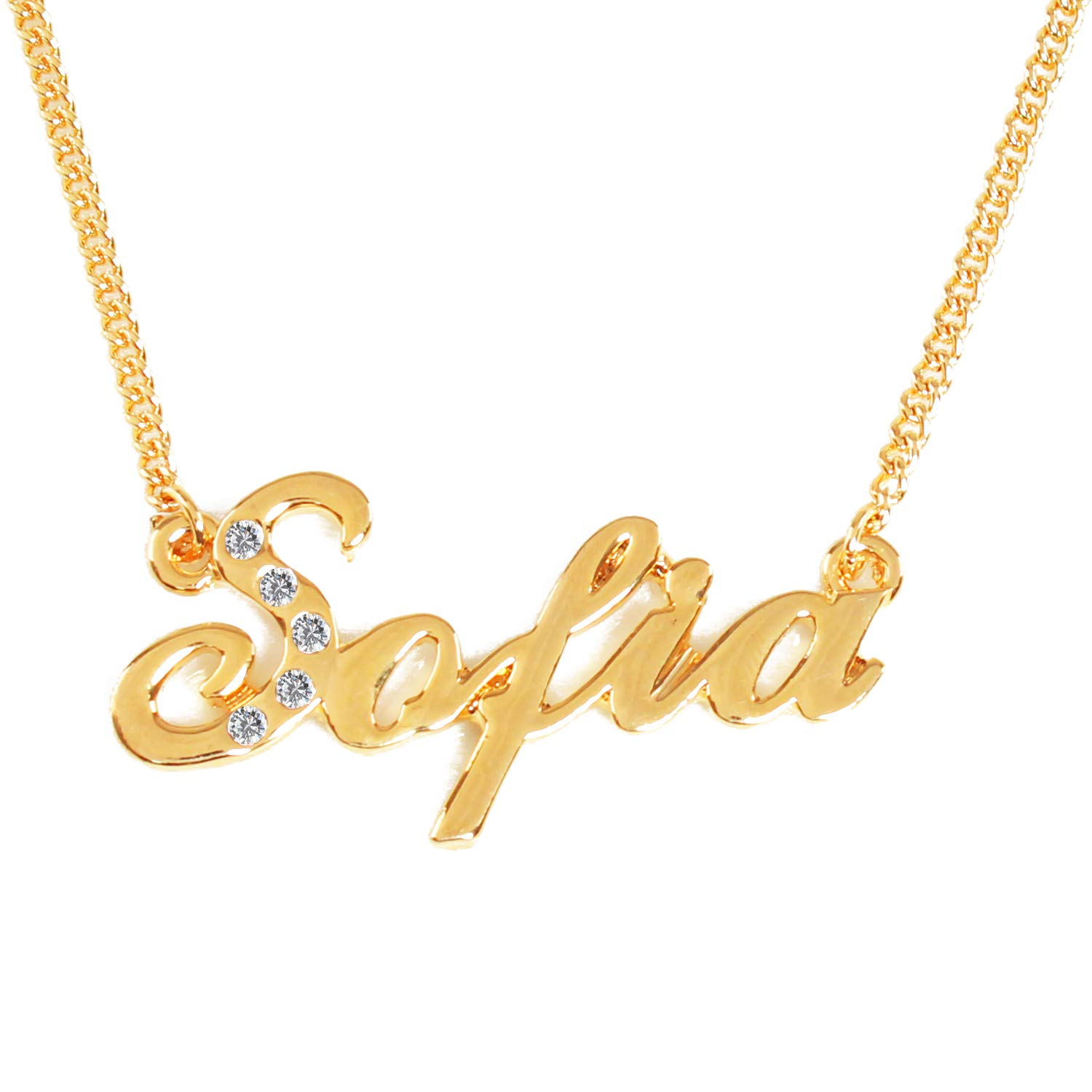 a9d5e4f65e033 Zacria Name Necklace Sofia 18K Gold Plated