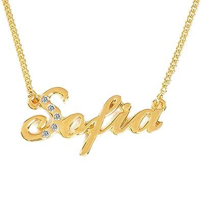 a9d5e4f65e033 Zacria Name Necklace Sofia 18K Gold Plated
