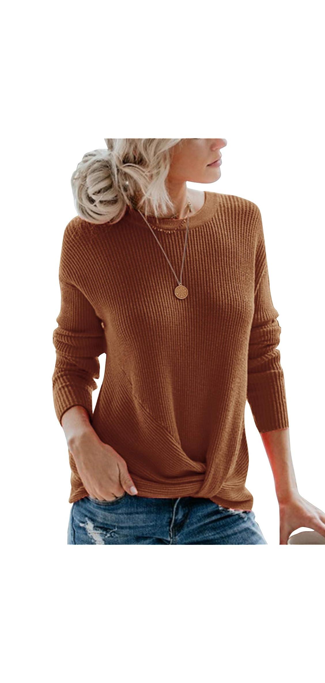 Women's Pullover Sweaters Cute Front Twist Knot Long