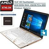 "(Renewed) HP 15 15.6"" Touchscreen Laptop Computer, AMD Athlon 300U Up to 3.4GHz (Beats i5-8250U), 8GB DDR4 RAM, 256GB PCIe SSD, DVDRW, AC WiFi, Bluetooth 4.2, Copper, Windows 10, Spmor Mouse Pad"