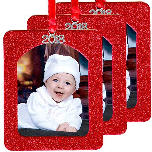 - 2018 Magnetic Glitter Christmas Photo Frame Ornaments with Non Glare Photo Protector, Vertical 3-Pack - Red