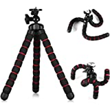 Phone Tripod Mini Octopus Tripod with Mount for iPhone Mini Camera/Projector Travel (Red)