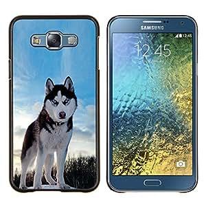 Qstar Arte & diseño plástico duro Fundas Cover Cubre Hard Case Cover para Samsung Galaxy E7 E700 (Happy Dog Husky)