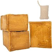 Natura Germania® 3x ca. 200gr originele Aleppo-zeep 90% olijfolie / 10% laurierolie