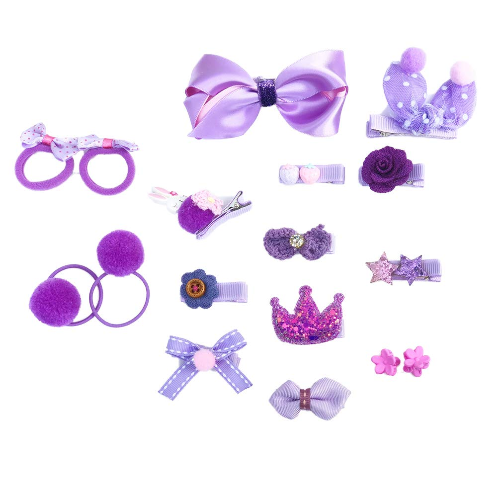 Baby Girls Hair Accessories Cute Hair Clips Ties Fully Covered Bows with Hanger Set, for Infant and Toddlers 18pcs (Purple)