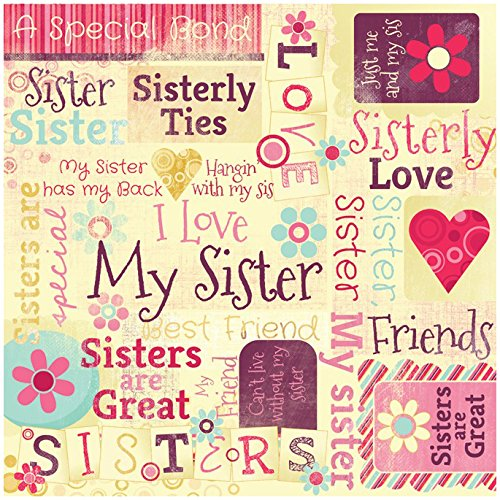 KAREN FOSTER Design Scrapbooking Paper, 25 Sheets, Sisters are Special Collage, 12 x 12
