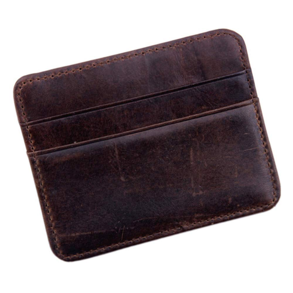 TIANRUN Fashion Men's Women's Leather Small ID Credit Card Wallet Holder Slim Pocket Case (Brown)