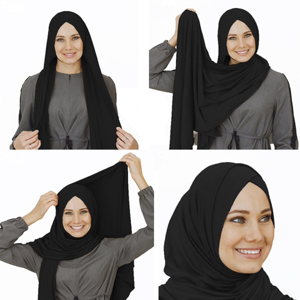 Cotton head scarf, instant black hijab, ready to wear muslim accessories for women (Black)