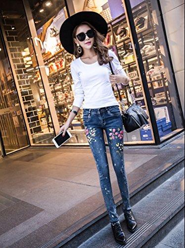 Pantaloni Outdoor Magro Blu Strappati Slim Dexinx Elegante Estate Caldi Charme Signore Denim Jeans Eqvq0