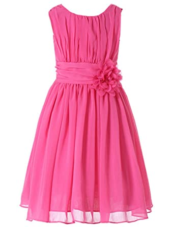 5f313d988 Bow Dream Little Girls Elegant Ruffle Chiffon Summer Flowers Girls Dresses  Junior Bridesmaids Fuschia 3