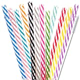Dakoufish 12 Piece 11 Inch Reusable Plastic Thick Drinking Straws BPA Free Mason Jar Straws Transparent Small Stripe (11inch, Mix 12color)