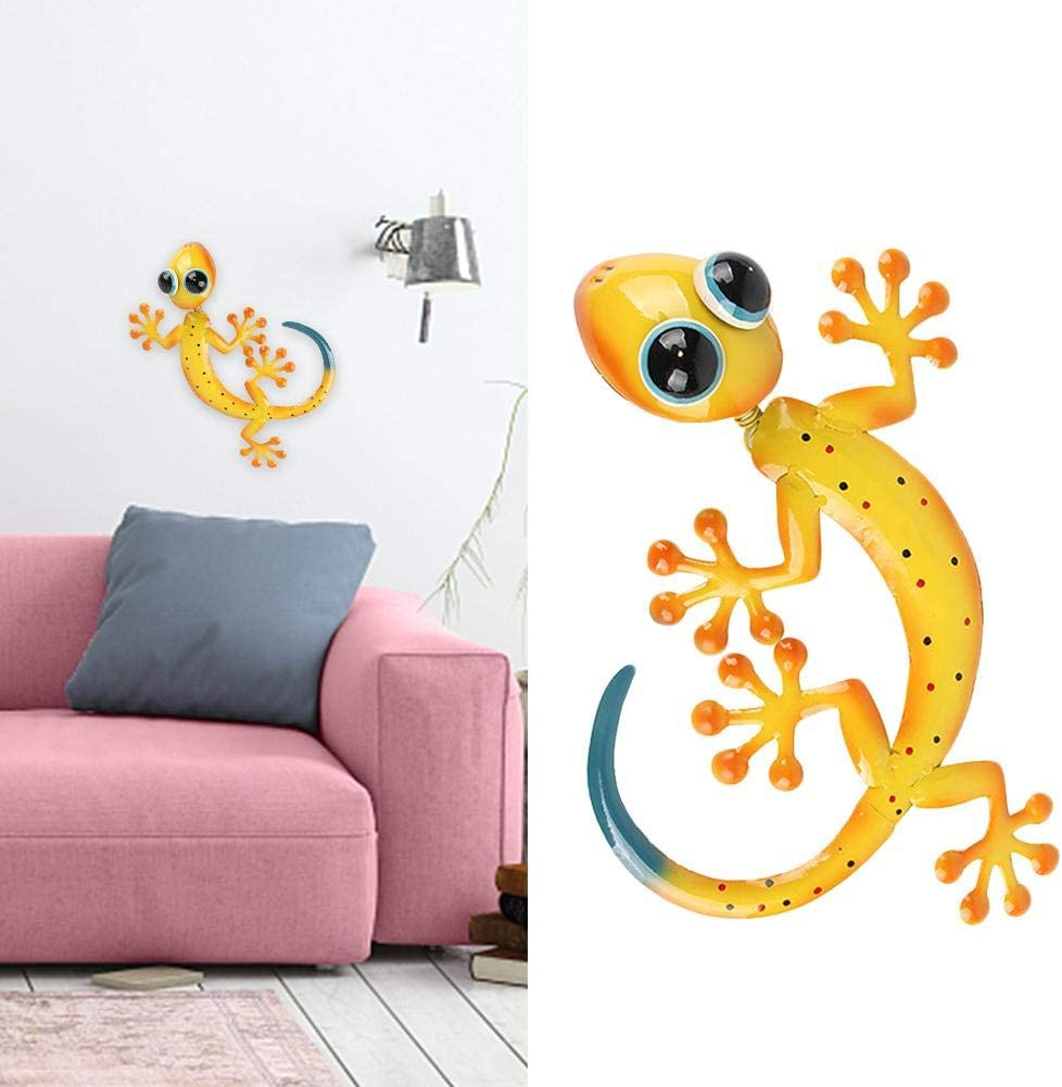 SHIYUE Gecko Wall Decor, Metal Lizard Wall Decor Art Wall Decoration, Hang Indoor Outdoor for Home Bedroom Living Room Office Garden, 12 Inches
