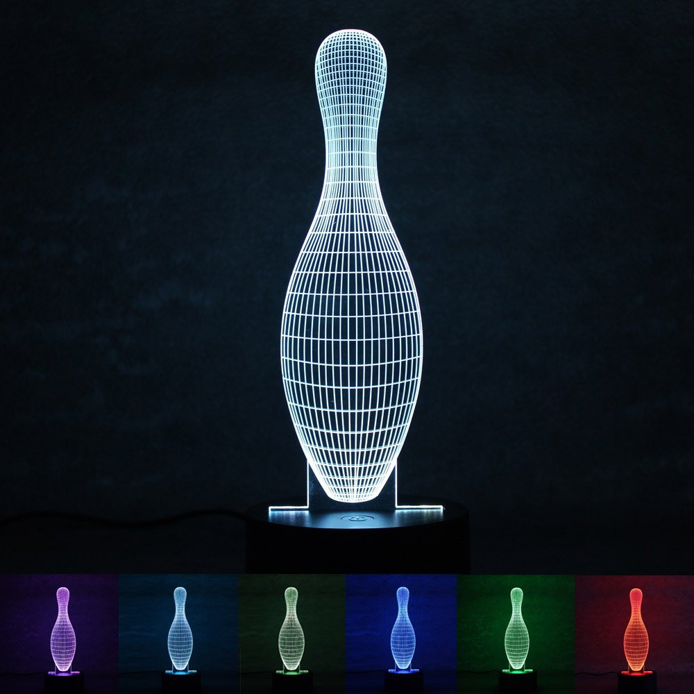 WOMHOPE LED Night Light Multi 7 Color Changing Touch Button USB Powered Home Decor Lamp Desk Lamp Gift- Unique 3D Visualization Amazing Optical Illusion (Bowling pin)