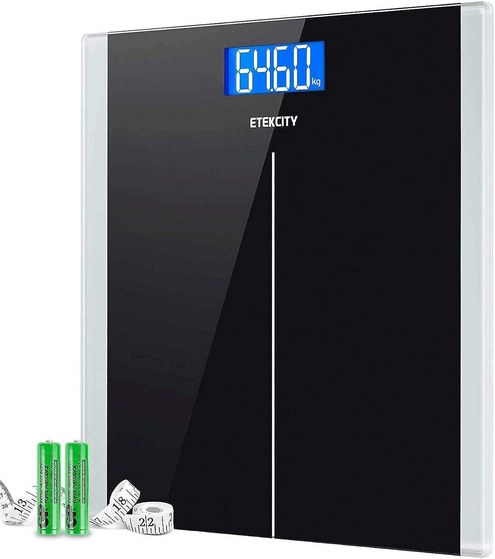 Etekcity Báscula de Baño Digital de Alta Precisión (0,05kg / 0,1lb) con Tecnología Step-on y Auto Apagado, 5-180kg con Pantalla LCD Retroiluminada, Baterías y Cinta Métrica Incluidas, 9380