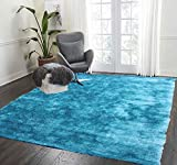 LA Rug Linens 8-Feet-by-10-Feet Pile Rug Fluffy Modern Home Store Kitchen Outdoor Indoor Bedroom Living Room Throw Carpet Floor Shag Rug Turquoise Blue Two Tone Color (Aroma Turquoise) For Sale