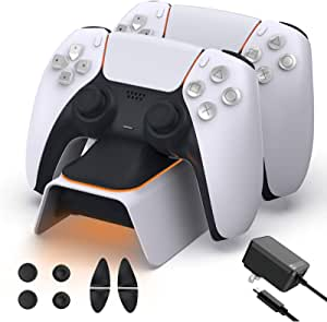 NexiGo Upgraded PS5 Controller Charger with Thumb Grip Kit, Fast Charging AC Adapter, Dualsense Charging Station for Dual Playstation 5 Controllers with LED Indicator, White