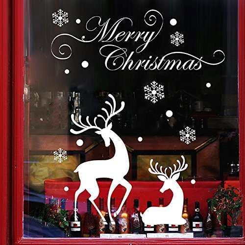 Translucent Oil Base Stain (Whitelotous Removable Christmas Window Stickers White Snowflakes Reindeer Wall Decals Window Glass Sticker Christmas Decor)