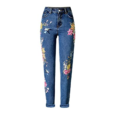 Homieco™ Women's Stylish High Waist Regular Flower Embroidered Denim Pants Skinny Jeans Trousers Blue