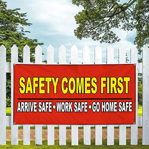 Multiple Sizes Available Set of 3 24inx60in 4 Grommets Vinyl Banner Sign Safety Comes First Red Yellow Lifestyle Marketing Advertising Red