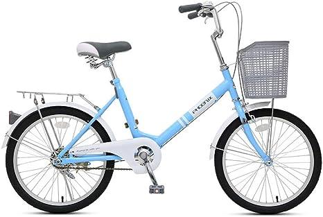 JHKGY - Bicicleta de playa para hombre y mujer, marco de acero de alto carbono, cesta delantera y trasera, color azul, tamaño 20 pulgadas: Amazon.es: Deportes y aire libre