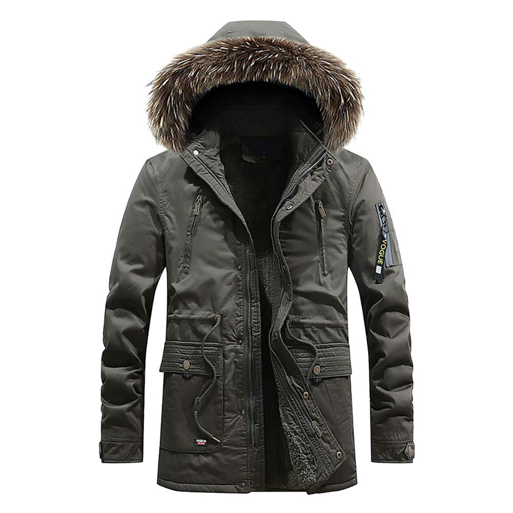 Seaintheson Men's Pullover Hoodies,Casual Pocket Button Zipper Hooded Sweatshirt Autumn Winter Thermal Plus Velvet Top Coat