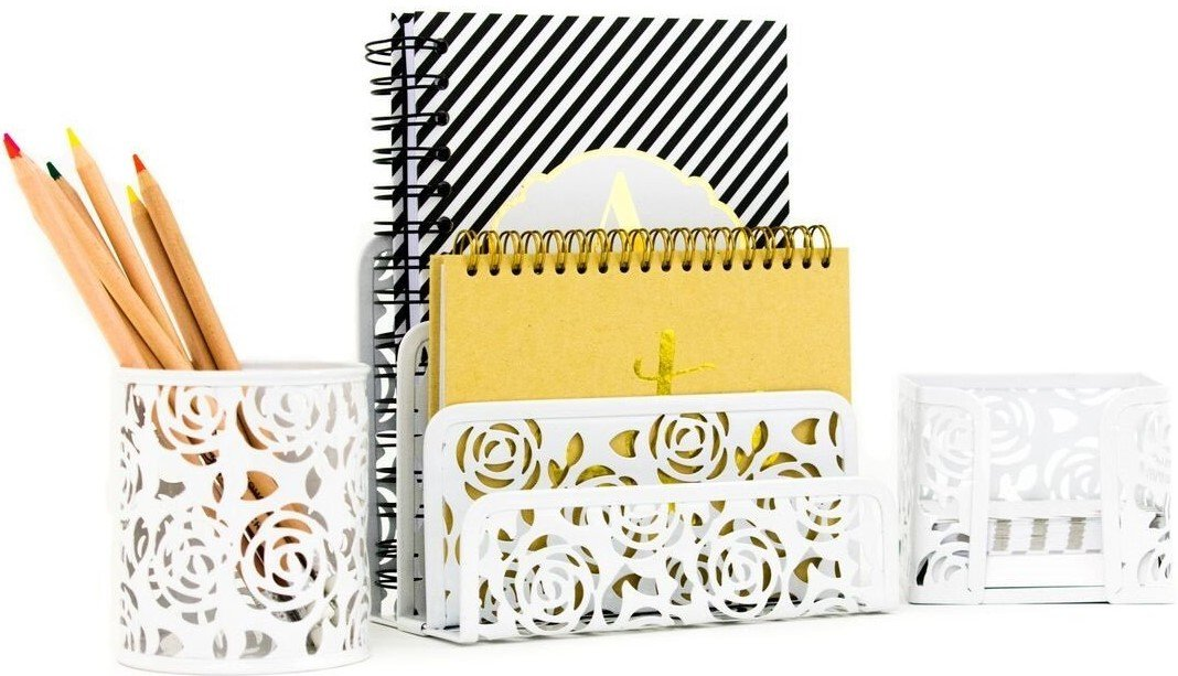 Merveilleux Blu Monaco White Desk Organizer For Women   3 Piece Desk Accessories Set    Letter