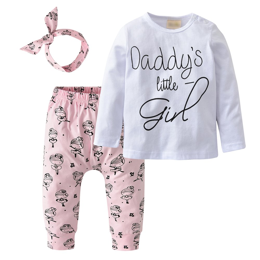 Derouetkia Newborn Baby Girls 3Pcs Outfit Set Letters Daddy Little Girl T-Shirt Tops Cartoon Pants with Headband