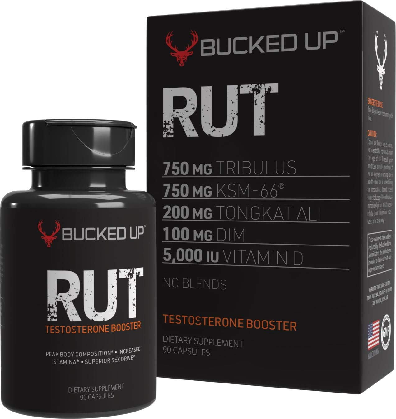RUT - Testosterone Booster - Best All-Natural Test Formula for Men - Energy, Endurance, Strength, and Stamina Booster - Fast Muscle Growth - Male Supplements (90 Capsules/Pills)