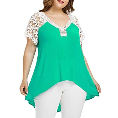 3688f0cfb10e Anglewolf Fashion Women s Plus Size Floral Lace Patchwork Short Sleeve  Cutwork Lace Trim T-Shirt Tank Tops Ladies Summer Casual Loose Tops Solid  Lace Shirts ...