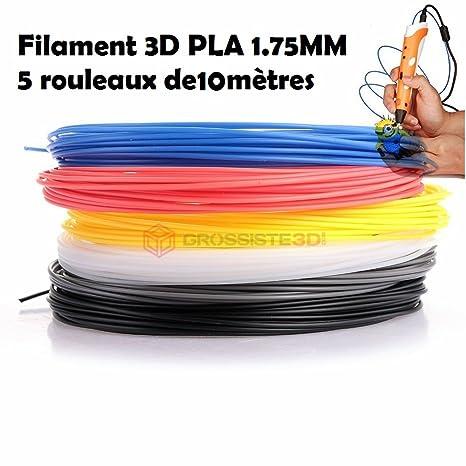 Surtido 5 x 10 métres/pcs hilos filamento pla 1.75 mm para ...
